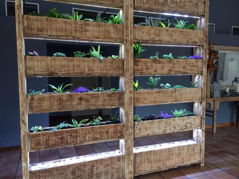 jardín madera palés